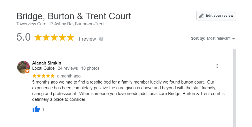 Bridge Burton and Trent 5 star google review